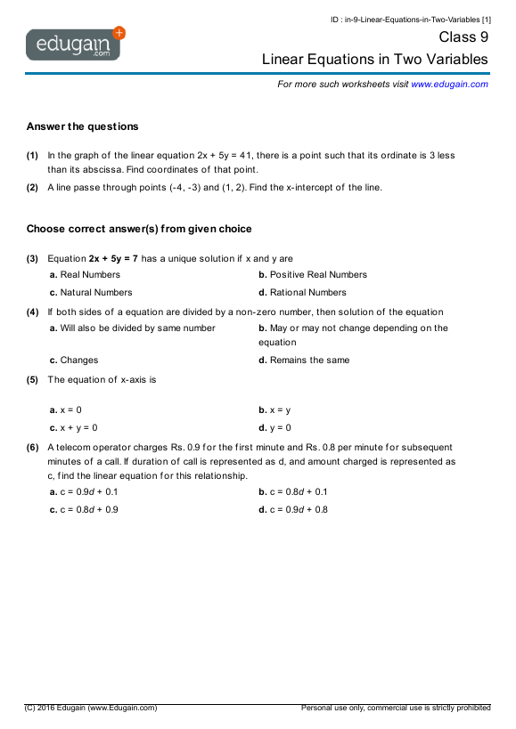 Year 9 Math Worksheets And Problems Linear Equations In