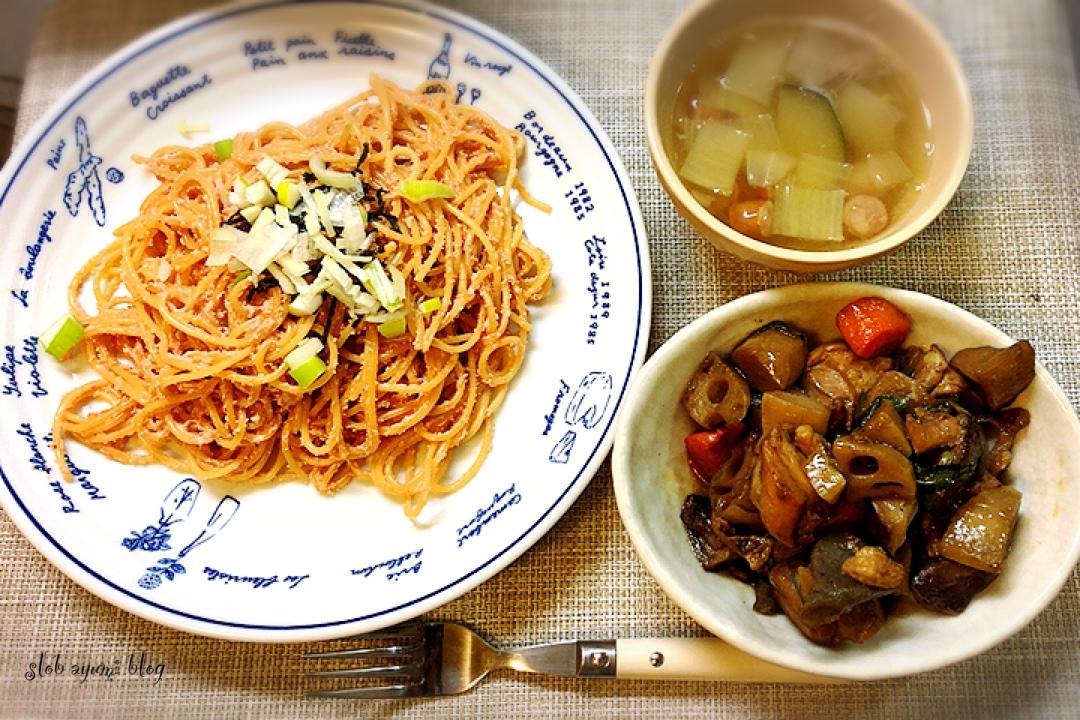明太子パスタと筑前煮の献立レシピ