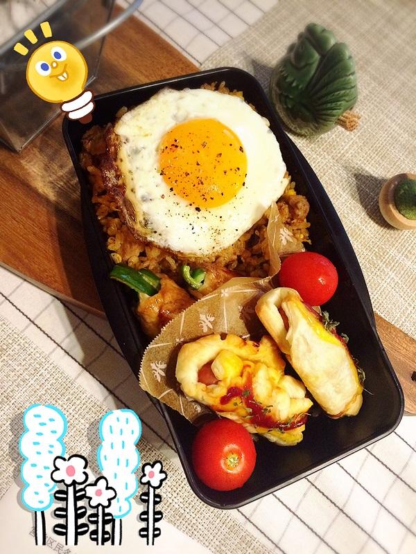 木曜日のお弁当【ジャンバラヤ&ウィンナーパイ】