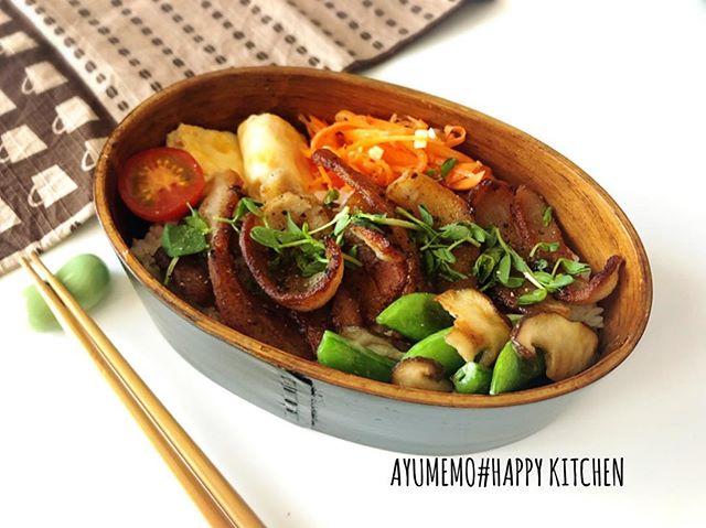 本日のお弁当は、#豚トロ弁当脂身がやだったから、カリカリに焼いたら、もはや豚トロではなくなったかも、、、(; ̄д ̄) #旦那弁当#曲げわっぱ