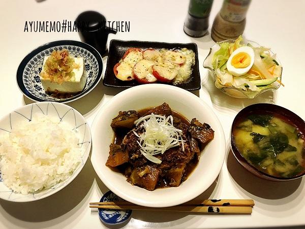 松屋の茄子とネギの香味醤油ハンバーグ定食再現レシピ&献立