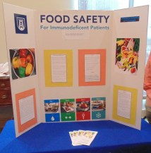 "Here is a poster board called ""Food Safety for Immunodeficient Patients,"" which discusses various ways to choose, handle, clean and cook food safely for individuals that deal with immunodeficiency. (Photo: Jamie Sapp)"