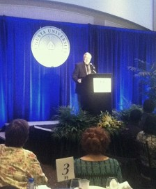 President Brooks Keel speaks with the audience at the Augusta University Scholarship Brunch on April 30. (Photo: Shellie Smitley)