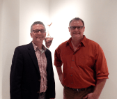 Fellow artist Mark Toole (right) with Scott Thorp (left), chair of the department of art at Augusta University (Photo: Morgan Hayes)
