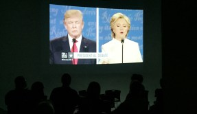 Students and faculty watched the the final U.S. presidential debate on Oct. 19 in the TVC Lab at University Hall. (Photo: Kait Fruechting)