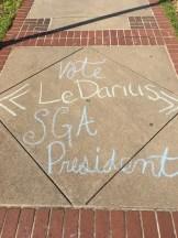 A chalking on voting LeDarius Scott for SGA President (Photo: Skyler Mitchell)