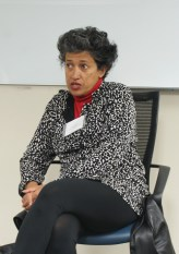 Professor Sudha Ratan led the roundtable discussion on challenges of female empowerment and gender equality in developing countries. (Photo: Jamie Sapp)