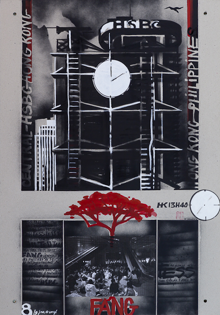 Jour de congé - N°8 - Techniques mixtes sur carton - Peinture de Michelle Auboiron d'après une nouvelle de Chantal Pelletier