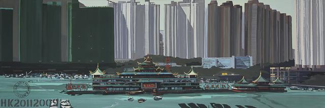 Le Jumbo Floating Restaurant - Port d'Aberdeen - Hong Kong - une toile de Michelle Auboiron