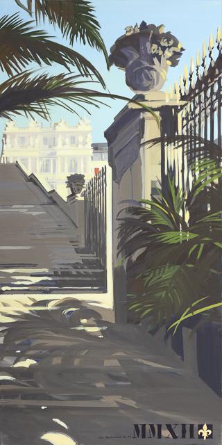 L'escalier des 100 marches depuis le parterre de l'Orangerie - Peinture du Parc du Château de Versailles par Michelle AUBOIRON