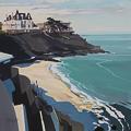 Peinture de Dinard par Michelle Auboiron - La Plage de Port Salut et la Villa Greystones