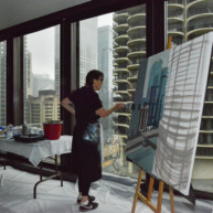 Marina-city-from-IBM-Tower-Chicago-Painting-by-Michelle-Auboiron-2 thumbnail
