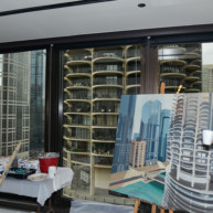 Marina-city-from-IBM-Tower-Chicago-Painting-by-Michelle-Auboiron-5 thumbnail