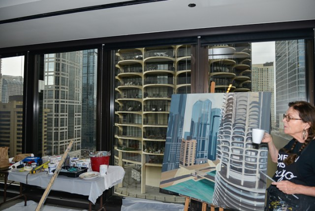 Marina-city-from-IBM-Tower-Chicago-Painting-by-Michelle-Auboiron-5