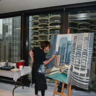 Marina-city-from-IBM-Tower-Chicago-Painting-by-Michelle-Auboiron-6 thumbnail
