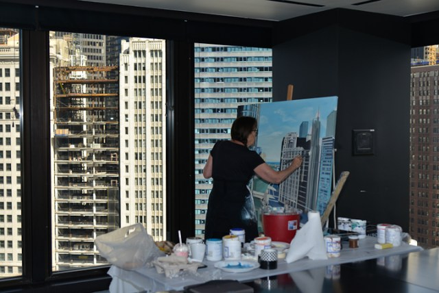 Trump-Tower-and-Chicago-River-Painting-by-Michelle-Auboiron-3