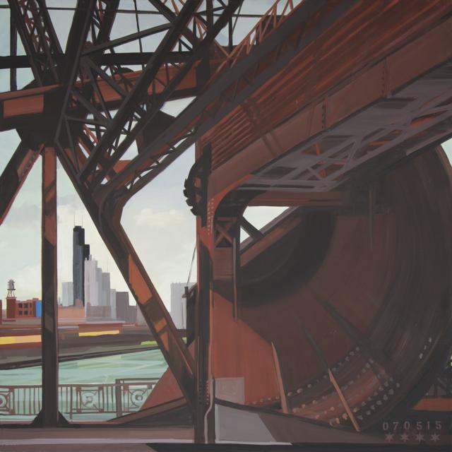 Peinture de Chicago par Michelle AUBOIRON - Painting of Chicago by Michelle AUBOIRON - Cermak Road Bridge