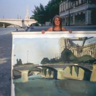 Michelle-Auboiron-peint-in-situ-les-Ponts-de-Paris-Photo-Anne-Sarter-15 thumbnail