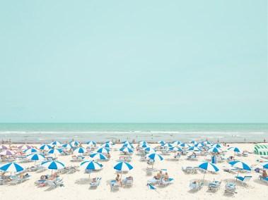 3. blue and white umbrellas