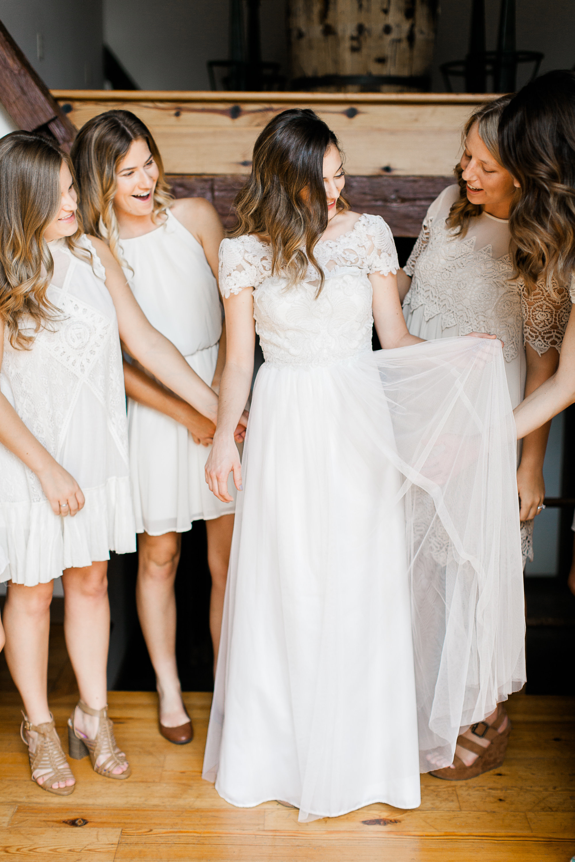 wedding at rockmill brewery, gown by BHLDN