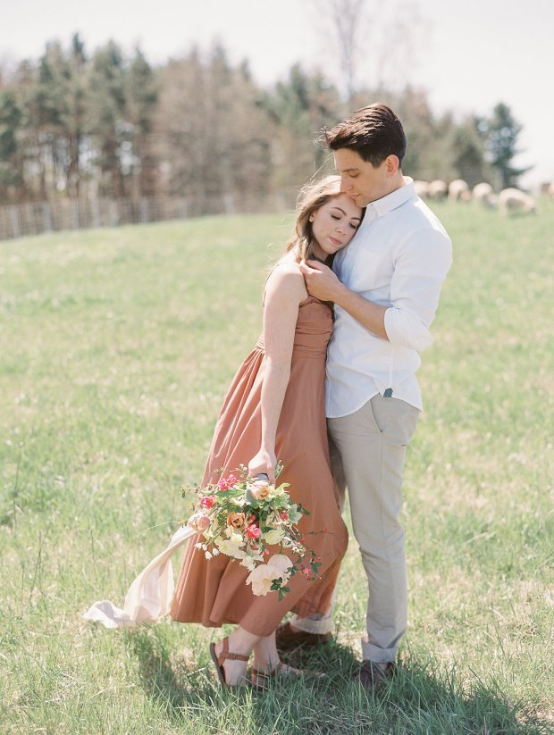 Springtime engagement session style, farm engagement session style