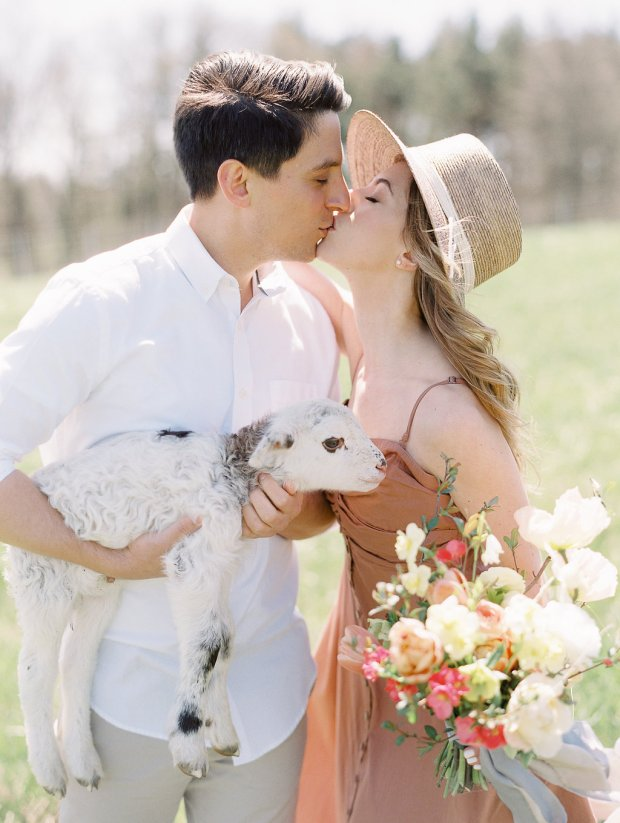 Springtime farm engagement session