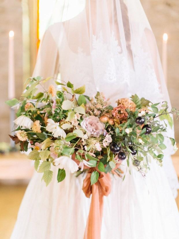 painting-inspired wedding design, old slate farm, summer wedding bouquet