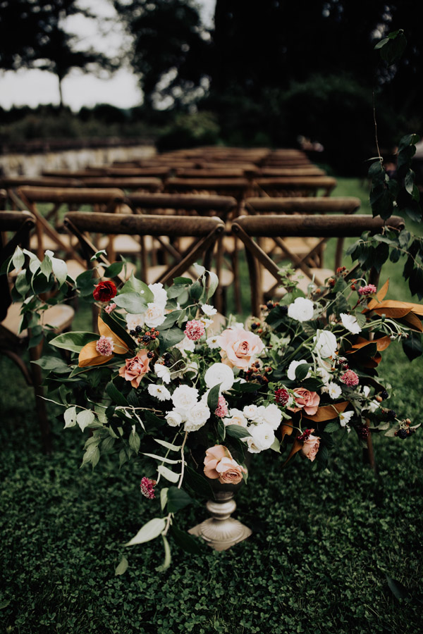 outdoor ceremony ideas at Bryn Du Mansion, Evergreen Flower Co + Auburn + Ivory