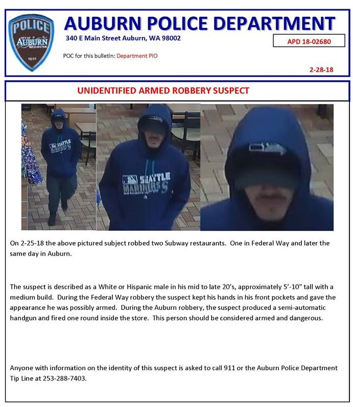 unidentified suspect, armed and dangerous, APD, auburn police