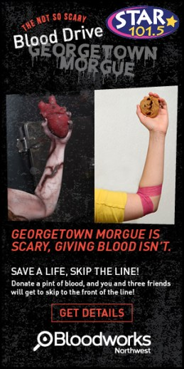 Georgetown Morgue, NW Bloodworks, Haunted House, Blood </p> <h4>Donation
