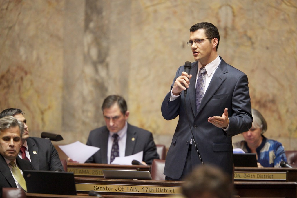 Joe Fain, Fain, Senate Floor, Olympia, 47th District, Republican, Senator Fain, Olympia, State Capital