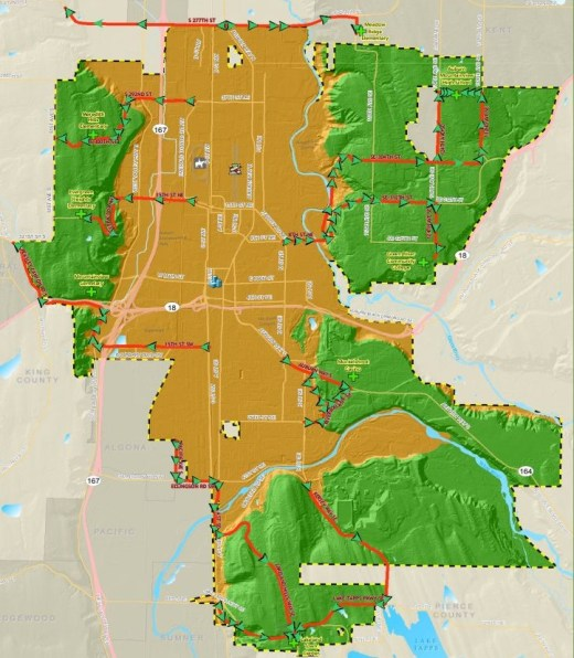 city of auburn, evacuation map, lahar, mt. rainier, lahar evacuation map