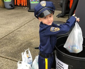 diego moreno, diego moreno food drive, officer ethan, sandi and randy green, kid cop, halloween,