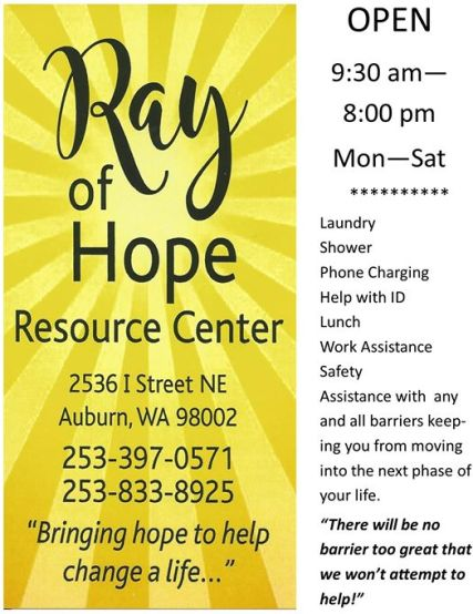 ray of hope resource center, auburn food bank, ray of hope resource center aurbun, auburn wa,