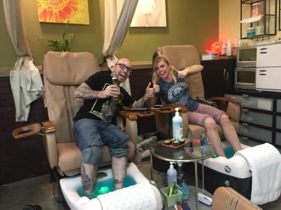 Shane Morey, pedicure selfie, self care, sibling pedicure