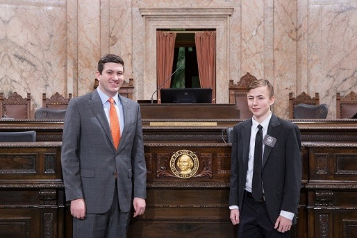 Rep. Drew Stokesbary, House Page Collin Ennis, Collin Ennis, Drew Stokesbary, City of Auburn Representative