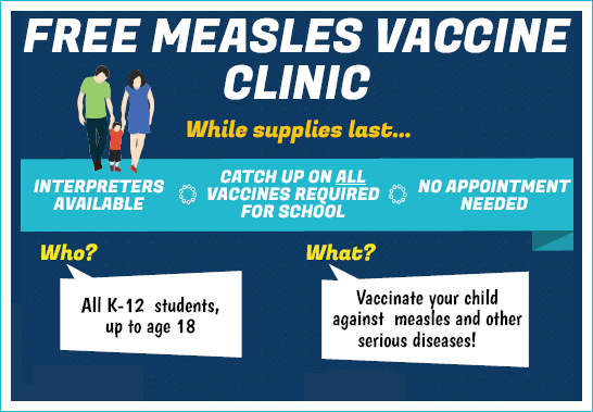 free vaccine clinic, measles vaccine, king county public health