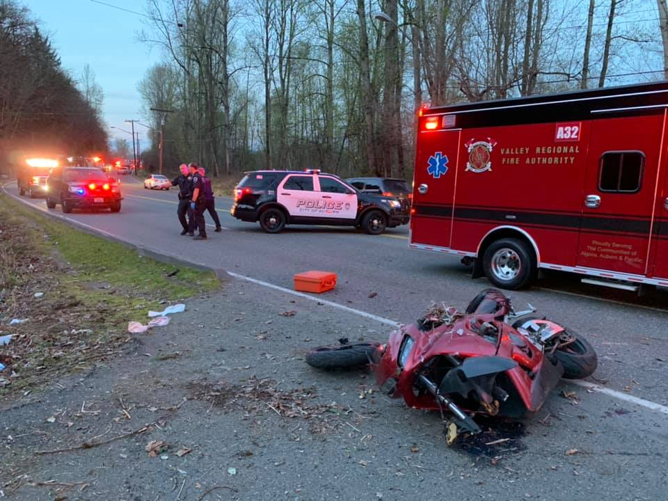 motorcycle accident, w valley hwy, vrfa, mva, car accident, motorcycle crash, motorcycle