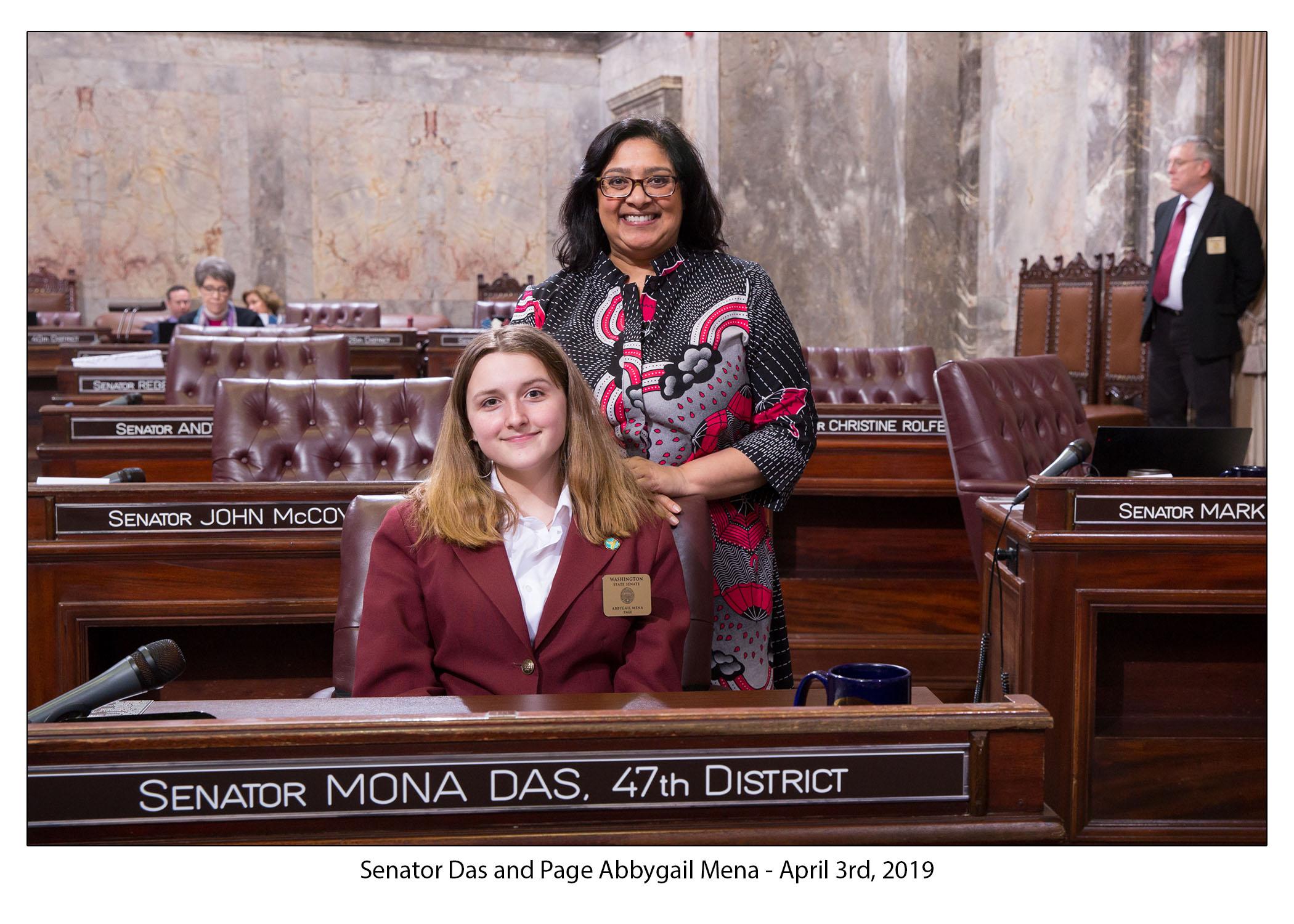 Mona Das, Senator Mona Das, Abbygail Mena