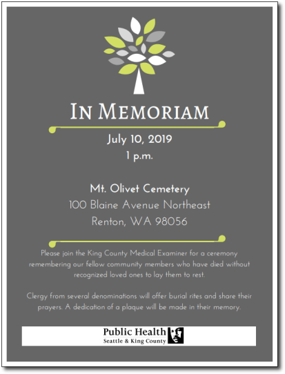 king county medical examiner, king county medical examiner's indigent burial ceremony