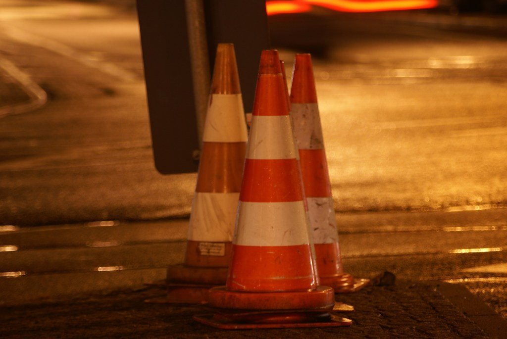 traffic cone, road work, sidewalk repair