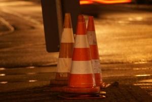 traffic cone, road work, sidewalk repair