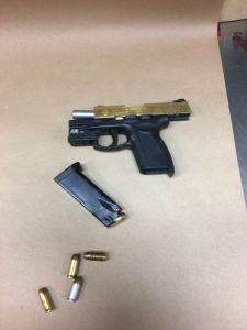 Firearm, auburn police department, evidence, .45 gun, .45 handgun, gold slide .45, .45 pistol