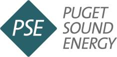 Puget sound energy's logo. A teal diamond with PSE in the center in white. The words PUGET SOUND ENERGY are stacked to the right of the PSE diamond.