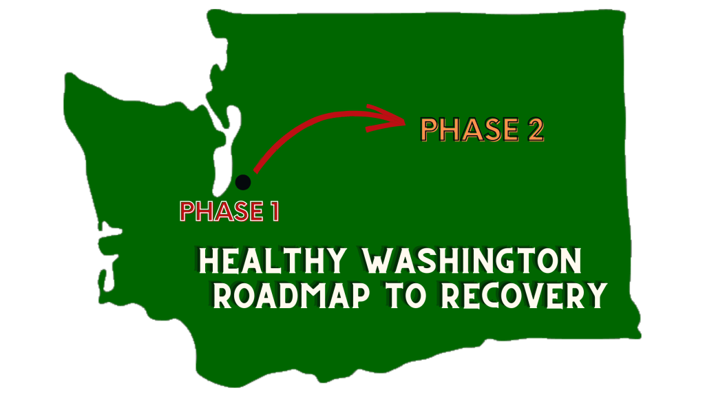 """A solid green shape of Washington. Approximately where Auburn is located is a black dot labeled """"Phase 1"""" a red arrow bends toward the middle of the state to the words """"Phase 2"""" At the bottom of the state reads """"Healthy Washington Roadmap to Recovery"""""""