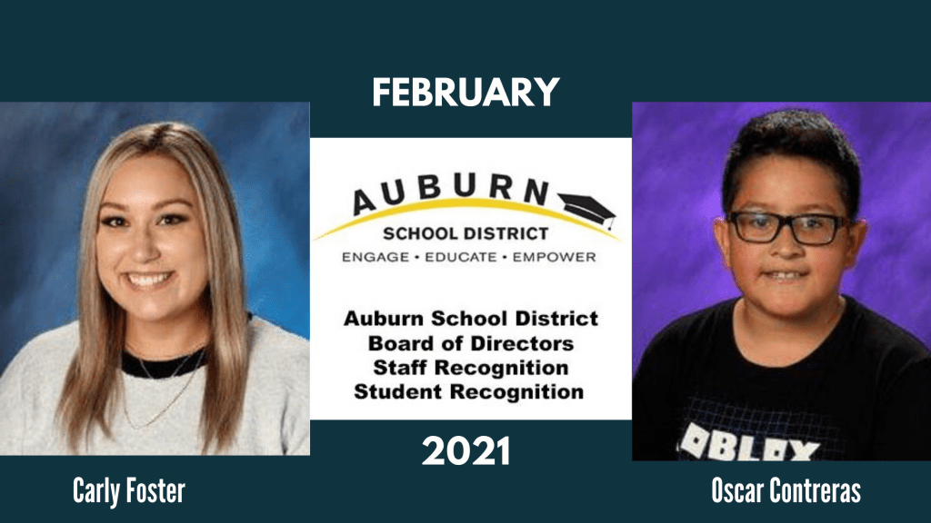 Carly Foster and Oscar Contreras outstanding student and staff member of the month outstanding for february
