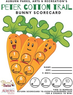 The official bunny scorecard, a carrot with locations to check off on it.