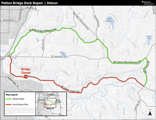 A detour map for the Patton Bridge deck repair