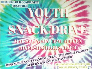 the impact project flyer for the may 16 youth snack drive