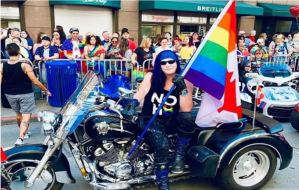 Aeryn Saint participating in Seattle's Gay Pride Parade in 2019.